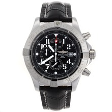 Repliki Breitling Skyland Avenger Working Chronograph with Black Dial-Leather Strap--49mm Version – Attractive Breitling Skyland Avenger Watch for You 26580