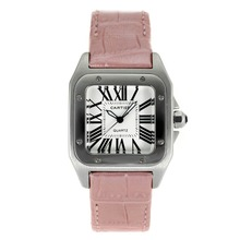 Repliki Cartier Santos 100 with White Dial-Pink Leather Strap – Attractive Cartier Santos Watch for You 28892