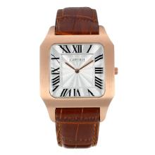 Replik Cartier Santos Rose Gold Case Roman Marker mit Silver Dial-Brown Leather Strap - Attraktive Cartier Santos für Sie 28598 Schauen