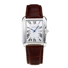 Replik Cartier Tank mit White Dial-Coffee Leather Strap - Attraktive Cartier Tank Armbanduhr für Sie 28559