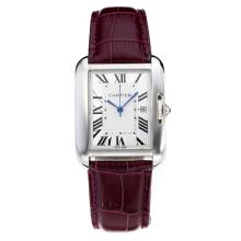 Replik Cartier Tank mit White Dial-Purple Leather Strap - Attraktive Cartier Tank Armbanduhr für Sie 28558