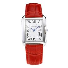 Replik Cartier Tank mit White Dial-Red Leather Strap - Attraktive Cartier Tank Armbanduhr für Sie 28557