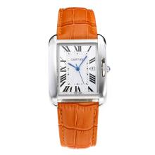 Replik Cartier Tank mit White Dial-Orange Leather Strap - Attraktive Cartier Tank Armbanduhr für Sie 28556