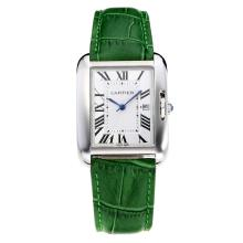 Replik Cartier Tank mit White Dial-Green Leather Strap - Attraktive Cartier Tank Armbanduhr für Sie 28555
