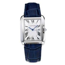 Replik Cartier Tank mit White Dial-Blue Leather Strap - Attraktive Cartier Tank Armbanduhr für Sie 28554