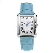 Replik Cartier Tank mit White Dial-Light Blue Leather Strap - Attraktive Cartier Tank Armbanduhr für Sie 28553