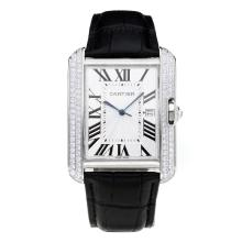 Replik Cartier Tank Diamond Case mit White Dial-Black Leather Strap - Attraktive Cartier Tank for You 28550 Schauen