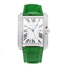 Replik Cartier Tank Diamond Case mit White Dial-Green Leather Strap - Attraktive Cartier Tank for You 28549 Schauen