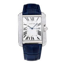Replik Cartier Tank Diamond Case mit White Dial-Blue Leather Strap - Attraktive Cartier Tank for You 28548 Schauen