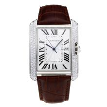 Replik Cartier Tank Diamond Case mit White Dial-Coffee Leather Strap - Attraktive Cartier Tank Armbanduhr für Sie 28547