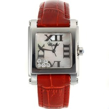 Replik Chopard Happy Diamonds Roman Marker mit MOP Dial-Red Leather Strap 32882