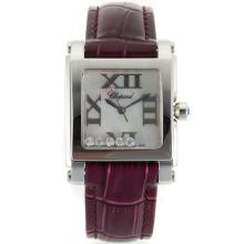 Replik Chopard Happy Diamonds Roman Marker mit MOP Dial-Purple Leather Strap 32878