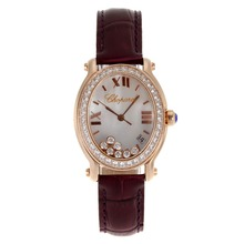 Replik Chopard Happy Diamonds Rose Gold Case mit MOP Dial-Brown Leather Strap 32842