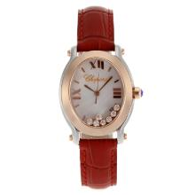 Replik Chopard Happy Diamonds Two Tone Gehäuse mit MOP Dial-Red Leather Strap 32841
