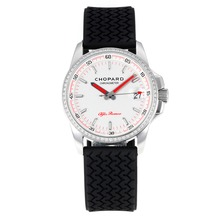 Replik Chopard Alfa Romeo Swiss ETA Quarzwerk Diamond Bezel mit White Dial-Red Needle - Attraktive Chopard Alfa Romeo Uhr für Sie 32721