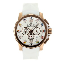 Replik Corum Admirals Cup Chronograph Arbeitsgruppe Rose Gold Case mit White Dial-Rubber Strap - Attraktive Corum Admirals Cup Replik für Sie 37276