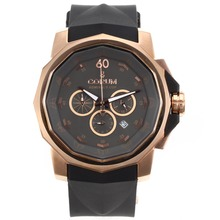 Replik Corum Admirals Cup Chronograph Arbeitsgruppe Rose Gold Case mit Dark Gray Dial-Rubber Strap - Attraktive Corum Admirals Cup Replik für Sie 37301