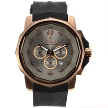 Replik Corum Admirals Cup Chronograph Arbeitsgruppe Rose Gold Case mit Light Gray Dial-Rubber Strap - Attraktive Corum Admirals Cup Replik für Sie 37300