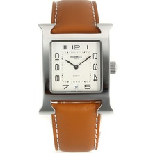 Replik Hermes H-our-Nummer Marker mit White Dial-Brown Leather Strap - Attraktive Hermes H-our Watch für Sie 36865