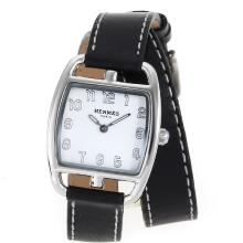 Replik Hermes Cape Cod Tonneau Double Tour mit White Dial-Leather Strap - Attraktive Hermes Cape Cod Uhr für Sie 36856