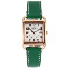 Replik Hermes Cape Cod Rose Gold Case mit White Dial-Green Leather Strap - Attraktive Hermes Cape Cod Uhr für Sie 36852