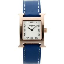Replik Hermes H-our Rose Gold Case Number Marker mit White Dial-Blue Leather Strap - Attraktive Hermes H-our Watch für Sie 36786
