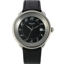 Replik Hermes Arceau mit Black MOP Dial-Leather Strap 36763