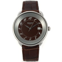 Replik Hermes Arceau mit Brown Dial-Leather Strap 36760