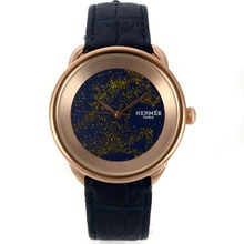 Replik Hermes Arceau Cheval de Legende Rose Gold Case mit Blue Dial-Leather Strap 36757