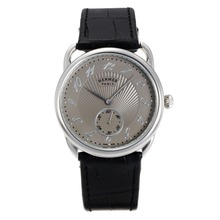 Replik Hermes Arceau mit Grey Dial-Black Leather Strap 36718