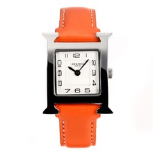 Replik Hermes H-our mit weißem Zifferblatt-Orange Leather Strap - Attraktive Hermes H-our Watch für Sie 36703