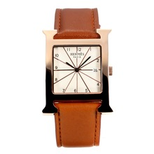 Replik Hermes H-our Rose Gold Case mit White Dial-Coffee Leather Strap - Attraktive Hermes H-our Watch für Sie 36698