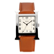 Replik Hermes H-our mit White Dial-Coffee Leather Strap - Attraktive Hermes H-our Watch für Sie 36689