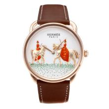 Replik Hermes New Arceau Amazones Rose Gold Case mit White Dial-Coffee Leather Strap 36647