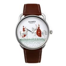 Replik Hermes New Arceau Amazones mit White Dial-Coffee Leather Strap 36646