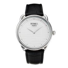 Replik Hermes Classic mit White Dial-Leather Strap - Attraktive Hermes Classic Watch for You 36645