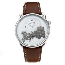 Replik Hermes Classic mit White Dial-Leather Strap - Attraktive Hermes Classic Watch for You 36642