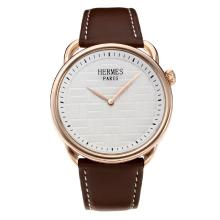 Replik Hermes Classic Rose Gold Case mit White Dial-Leather Strap - Attraktive Hermes Classic Watch for You 36641