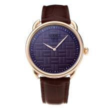 Replik Hermes Classic Rose Gold Case mit Purple Dial-Leather Strap - Attraktive Hermes Classic Watch for You 36640