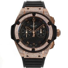 Repliki Hublot Big Bang King Chronograph Swiss Valjoux 7750 Movement Diamond Rose Gold Case and Bezel with Black Dial-Rubber Strap – Attractive Hublot Big Bang King Watch for You 30182