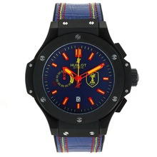 Replik Hublot Big Bang FIFA Working Chronograph PVD Gehäuse mit blauem Zifferblatt-Rubber Strap - Attraktive Hublot Big Bang Uhr für Sie 30128