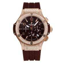 Replik Hublot Big Bang Chronograph Arbeitsgruppe Rose Gold Diamond Case mit Kaffee Dial-Coffee Rubber Strap - Attraktive Hublot Big Bang Uhr für Sie 29787
