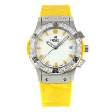 Replik Hublot Big Bang King Working Chronograph Diamond Bezel mit White Dial-Yellow Leather Strap - Attraktive Hublot Big Bang King Uhr für Sie 29767