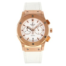 Replik Hublot Big Bang Chronograph Arbeitsgruppe Rose Gold Case mit White Dial-White Leather Strap - Attraktive Hublot Big Bang Uhr für Sie 29746