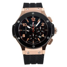 Replik Hublot Big Bang Chronograph Schweizer Valjoux 7750 Uhrwerk Rose Gold Case-Ceramic Bezel - Attraktive Hublot Big Bang Uhr für Sie 30713