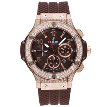 Replik Hublot Big Bang Brown Chronograph Schweizer Valjoux 7750 Uhrwerk-Full Diamant Crested - Attraktive Hublot Big Bang Uhr für Sie 30710