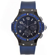 Replik Hublot Big Bang Chronograph Schweizer Valjoux 7750 Uhrwerk Blau CZ Diamond Bezel-Black Full Ceramic Case - Attraktive Hublot Big Bang Uhr für Sie 30652