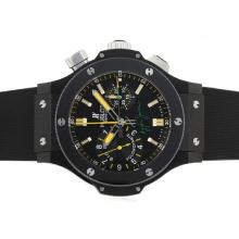 Repliki Hublot Ayrton Senna Chronograph Swiss Valjoux 7750 Movement PVD Case with Yellow Markers-Ceramic Bezel – Attractive Hublot Ayrton Senna Watch for You 30604
