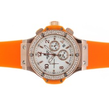 Replik Hublot Big Bang Chronograph Arbeitsgruppe Rotgold Diamond Bezel White Dial mit Orange Strap - Attraktive Hublot Big Bang Uhr für Sie 30572