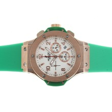 Replik Hublot Big Bang Chronograph Arbeitsgruppe Rose Gold Case White Dial with Green Strap - Attraktive Hublot Big Bang Uhr für Sie 30571